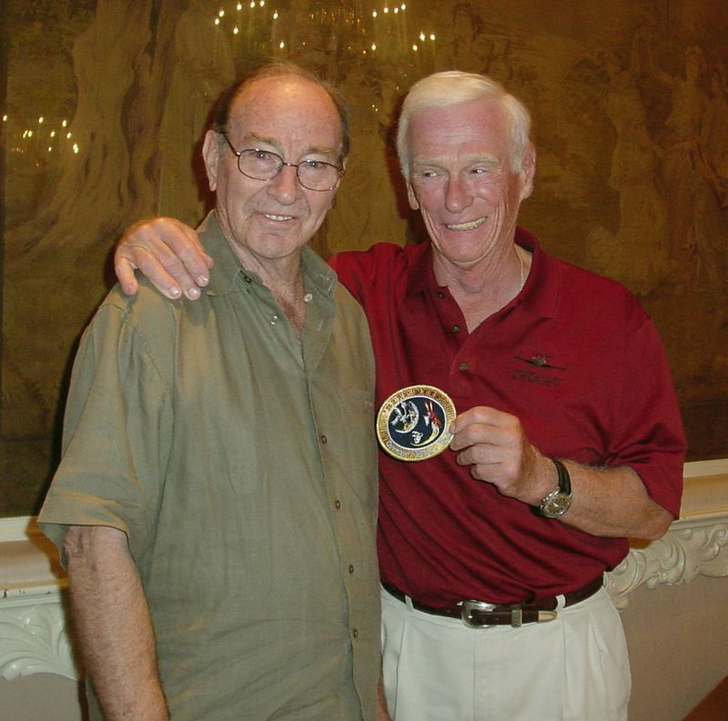 Edgar Mitchell and Gene Cernan with the flown BEEP BEEP patch