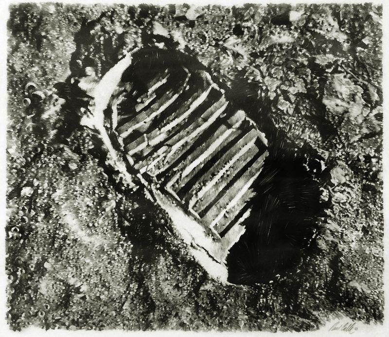 Calle 1st lunar foot print unframed gray
